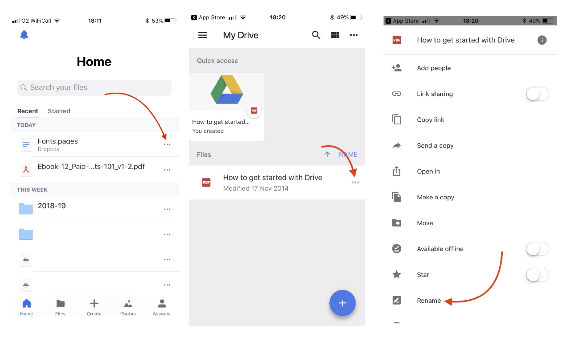 How to rename a file in Cloud Storage on your Phone